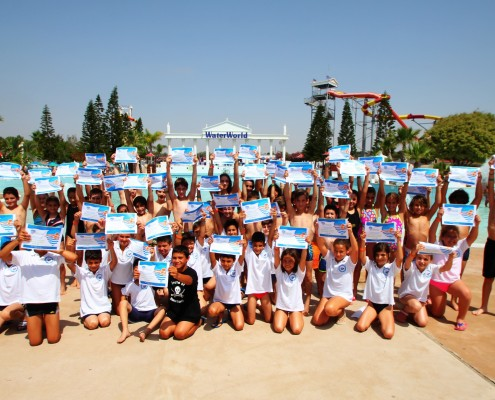 World Largest Swimming lesson at WaterWorld WaterPark Ayia Napa