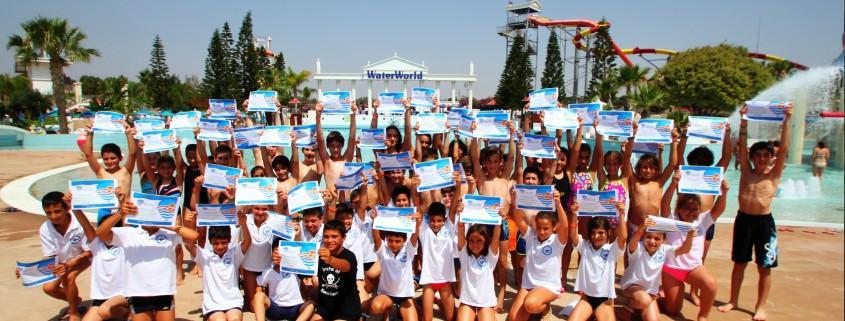 World Largest Swimming lesson at WaterWorld WaterPark Ayia Napa