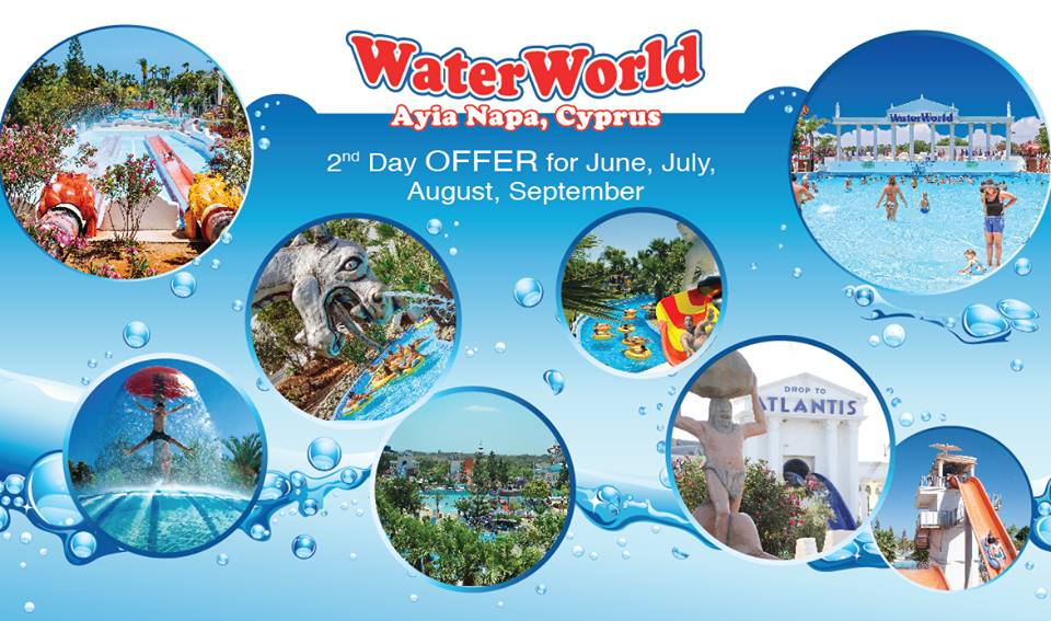 WaterWorld Themed Waterpark Ayia Napa Cyprus June second day special offer